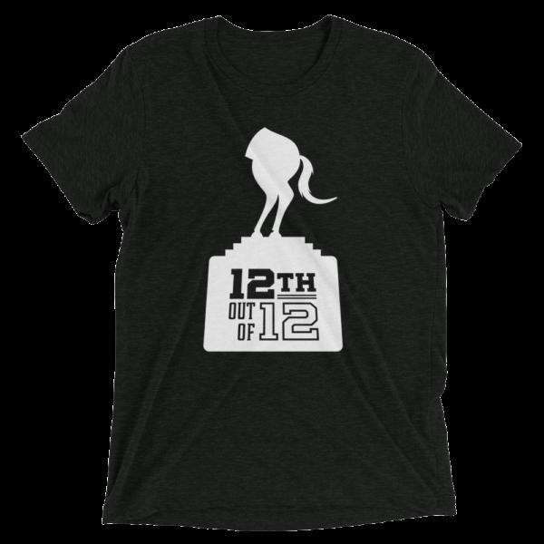 Black Fantasy Football Loser Shirt - 12th out of 12