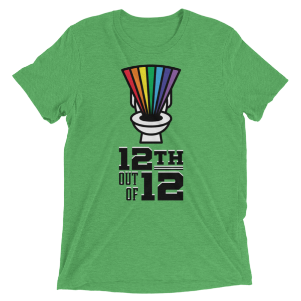 Green Fantasy Football Loser Shirt - Rainbow Toilet 12th out of 12